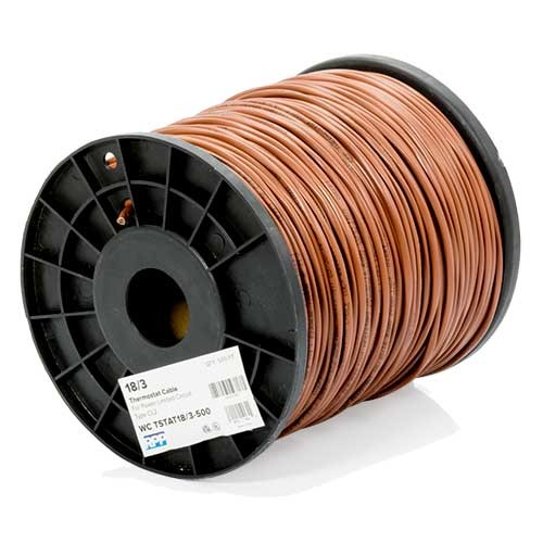 RPP | 18/3 Thermostat Wire, Solid Bare Copper, 500FT Reel, Brown