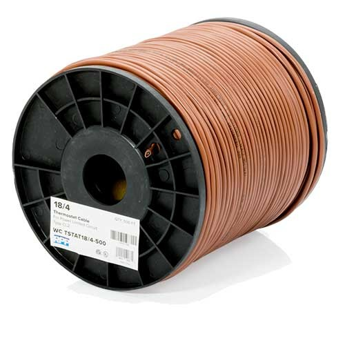 RPP | 18/4 Thermostat Wire, Solid Bare Copper, 500FT Reel, Brown