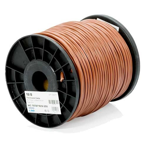RPP | 18/8 Thermostat Wire, Solid Bare Copper, 250FT Reel, Brown