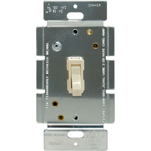 Toggle Dimmer, Incandescent, 600W, SP/3-Way