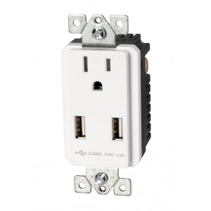 15A Tamper Resistant Single Receptacle with Dual USB Charger
