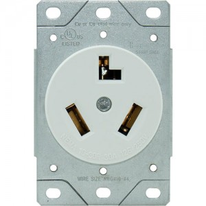 30A, 3-Wire Dryer Receptacle, Flush Mount