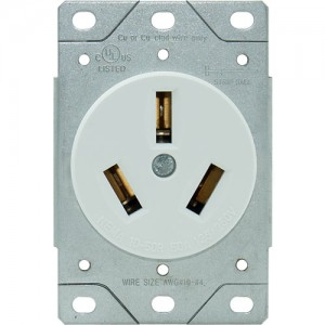 50A, 3-Wire Range Receptacle, Flush Mount
