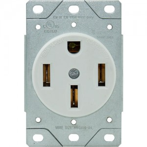 50A, 4-Wire Range Receptacle, Flush Mount