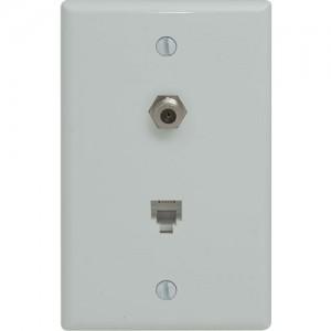 Duplex Phone/Coaxial Wallplate, Standard