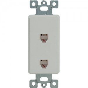 Duplex Telephone 4P4C Molded-In Decorator Frame